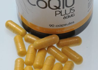 CoQ10 is yellow in color packaged in Digestible VegeCaps NewLife International